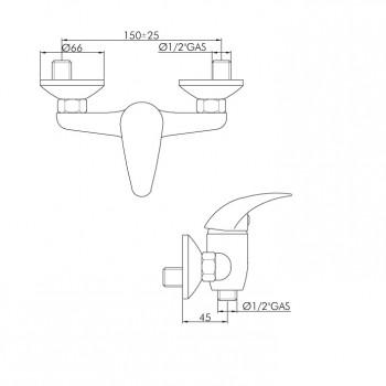 Miscelatore esterno doccia PEDRO disegno